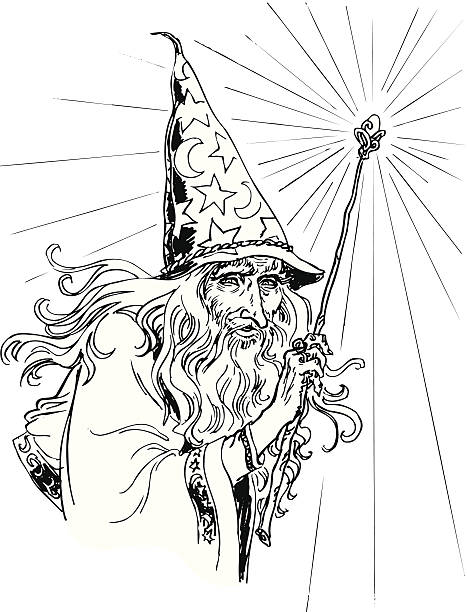 wizard - old man long beard silhouettes stock illustrations, clip art, cartoons, & icons