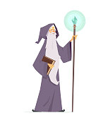Wizard with magic book and wand - cartoon people characters illustration