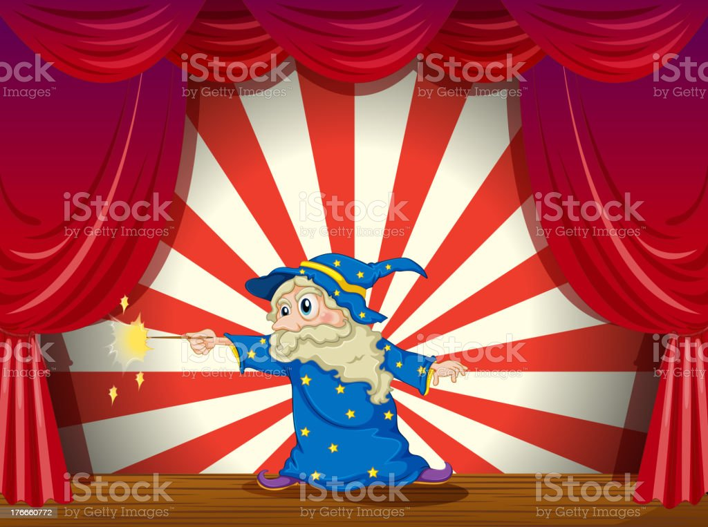 wizard with wand in the middle of stage royalty-free wizard with wand in the middle of stage stock vector art & more images of adult