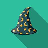 Wizard's Hat Flat Design Fantasy Icon