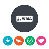 Wma music format sign icon. Musical symbol