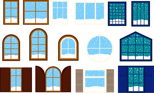 Wnter Snowfall Simple noon window set