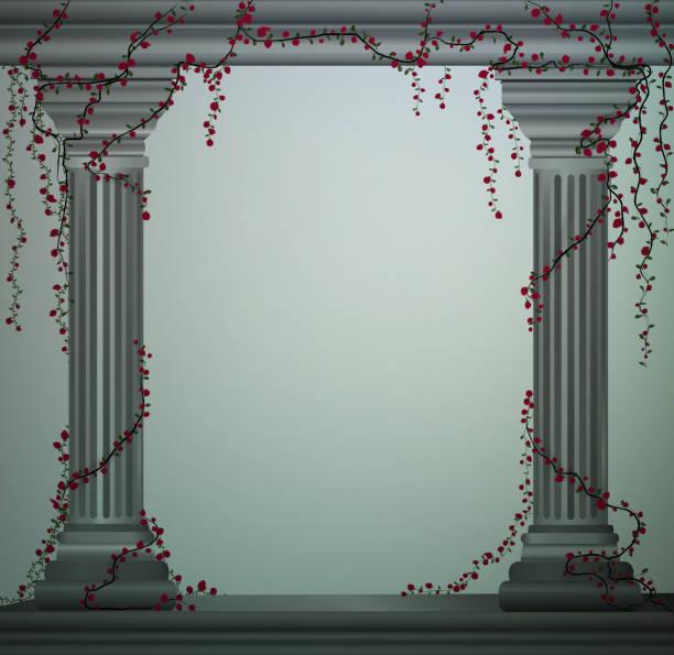 ilustrações de stock, clip art, desenhos animados e ícones de wo marble columns with curling red rose, romantic place in the antique garden,theater decoration, - ivy building