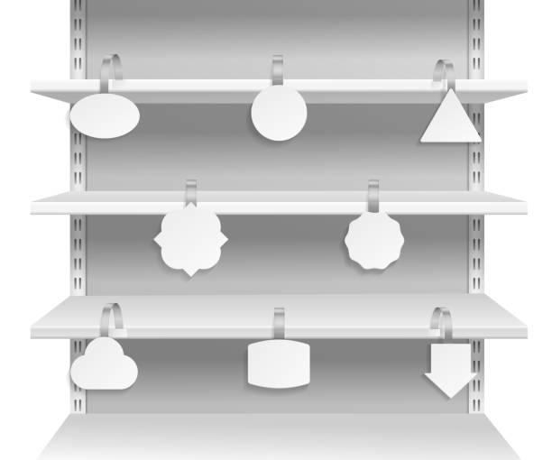 ウォブラー棚。スーパーの棚に割引販売タグを知らせるプロモーション広告。紙ウォブラー空ラベルベクトルセット - 集める点のイラスト素材/クリップアート素材/マンガ素材/アイコン素材