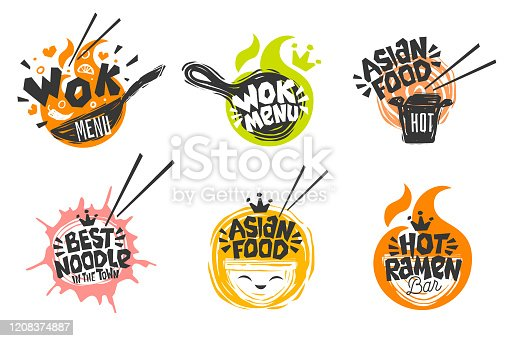 istock Wok asian food logo, Wok pan, plate, box, sticks, lettering, pepper, vegetables, Cook wok dish noodle ramen fire background logotype design. 1208374887