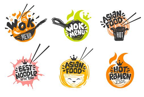 Wok asian food logo, Wok pan, plate, box, sticks, lettering, pepper, vegetables, Cook wok dish noodle ramen fire background logotype design.