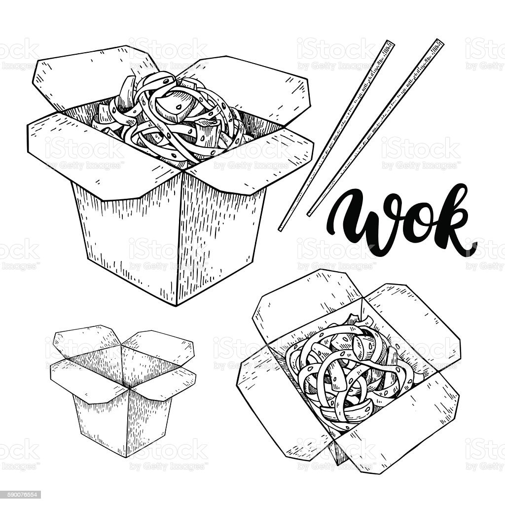 Wok vector drawing with lettering. Isolated chinese box and chop vector art illustration