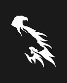 Wolf and eagle silhouette combined in negative space style - vector icon