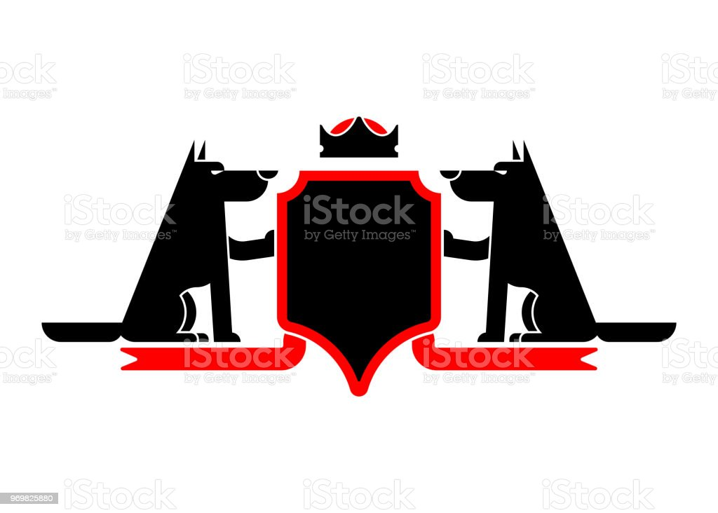 666030454 Wolf and Shield heraldic symbol werewolf. Forest predator Sign wild beast  for coat of arms