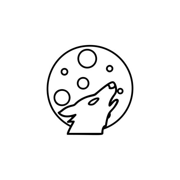 El lobo y el icono de la luna. Vector de bosquejo sencillo de halloween para IU y UX, sitio web o aplicación móvil - ilustración de arte vectorial