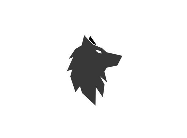 bildbanksillustrationer, clip art samt tecknat material och ikoner med varg svart huvud eller räv för logotyp - varg