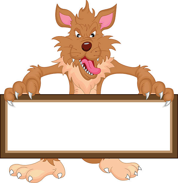 wolf cartoon und leere schild - hundehaarbögen stock-grafiken, -clipart, -cartoons und -symbole