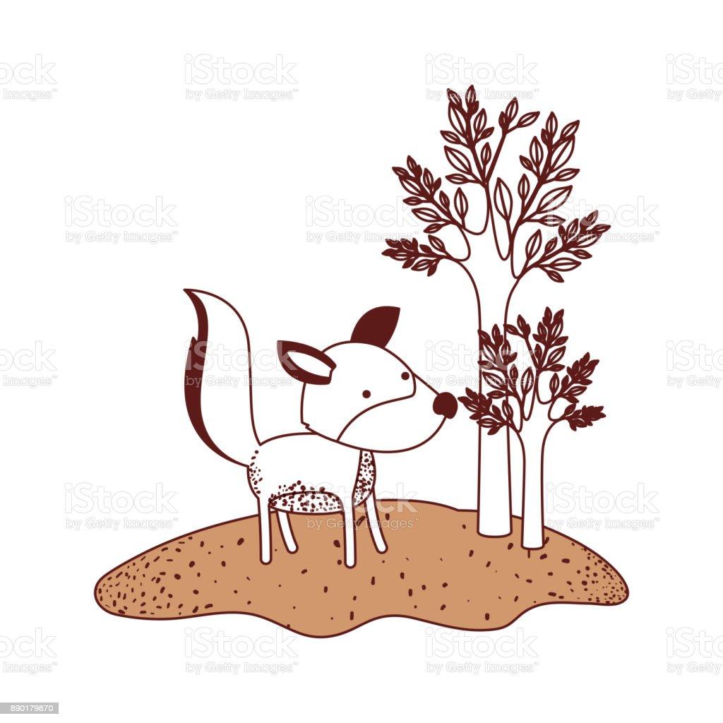 Ilustración De Dibujos Animados De Lobo En El Bosque Al Lado De Los