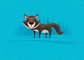 vector illustration of wolf standing and watching