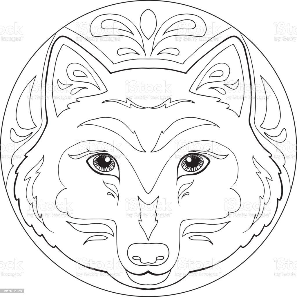 Ilustración De Lobo Para Colorear Vector De Mandala Y Más Banco De