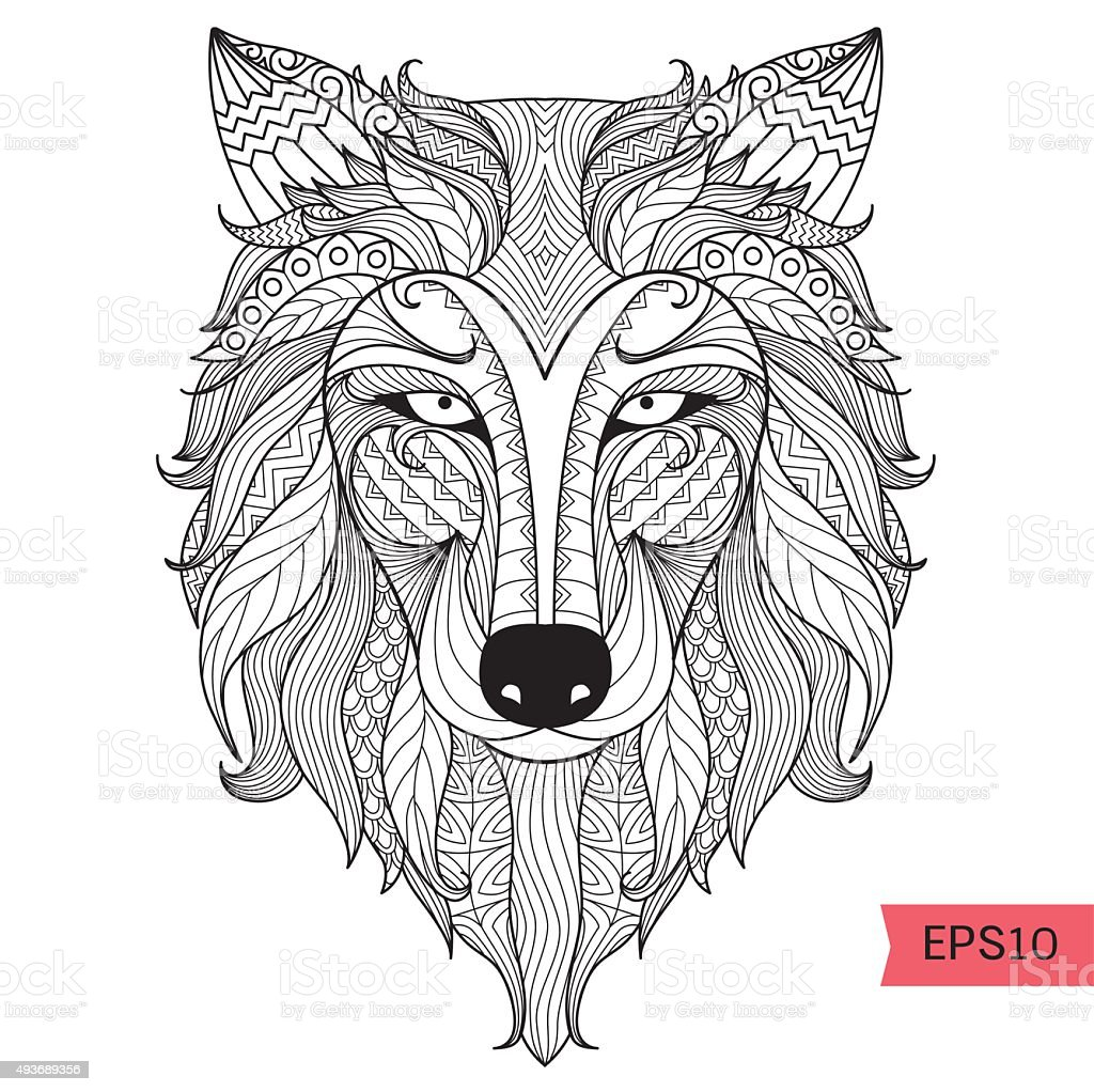 Wolf coloring page vector art illustration