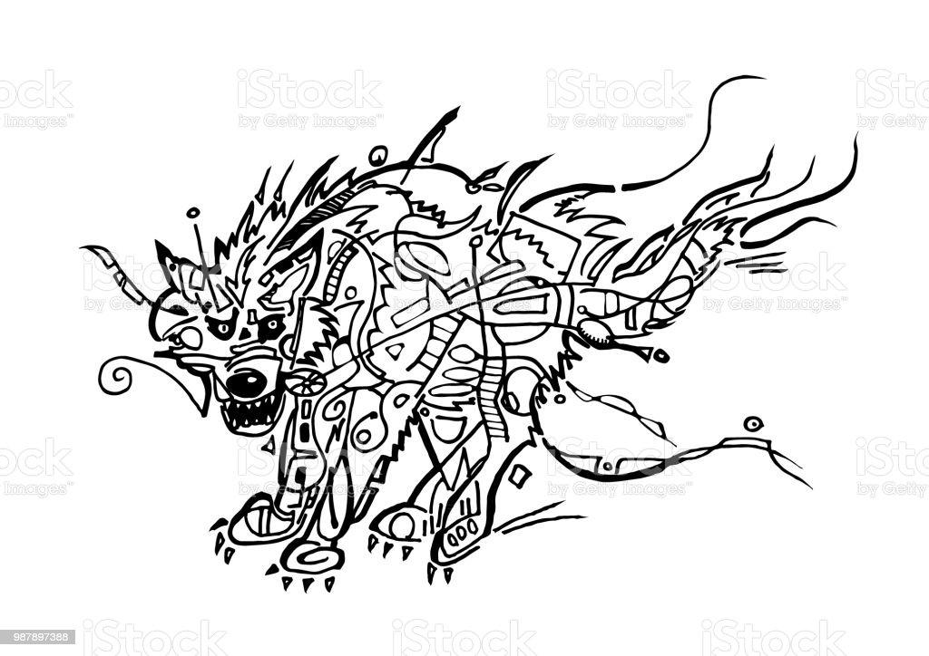 Ilustración de Lobo Para Colorear Página y más banco de imágenes de ...