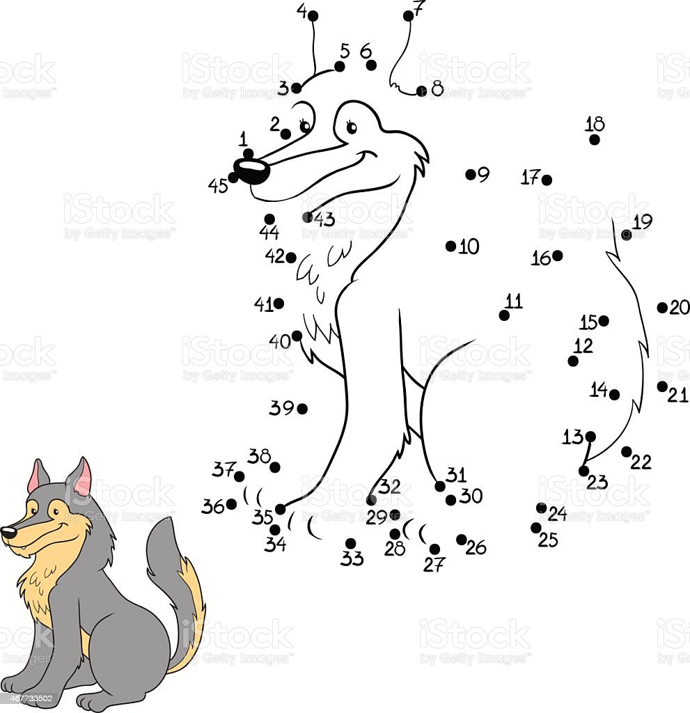 wolf connect the numbered dots childrens game stock vector art