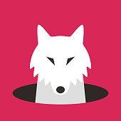 wolf dog on the hole,watching, vector illustration
