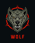 Wolf, dog, or werewolf with open mouth - vector character mascot. Wolf head emblem for dark background
