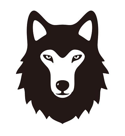 wolf face flat icon design, vector illustration