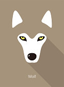 wolf face flat icon design  vector illustration
