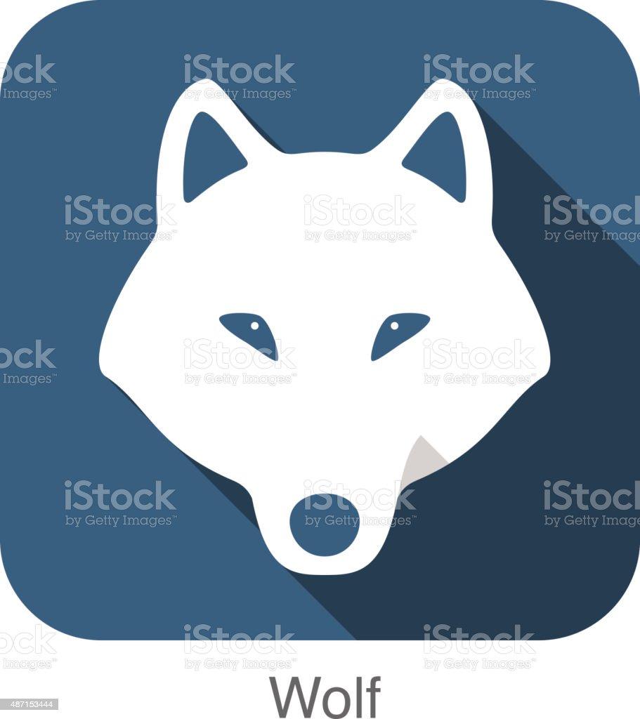 Wolf face flat icon, vector illustration vector art illustration