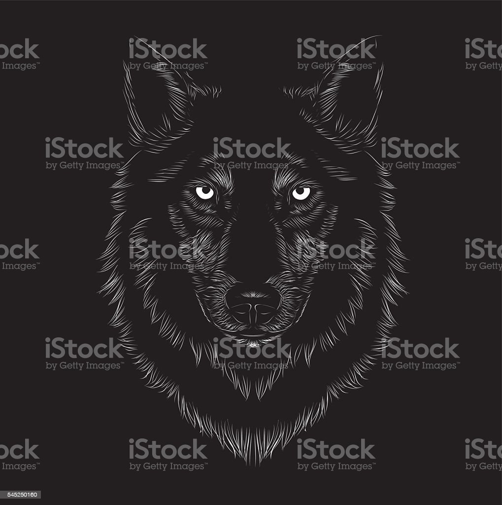Wolf face vector art illustration