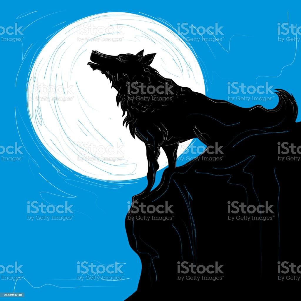 Wolf Full Moon, Abstract Work(Vector Art) vector art illustration
