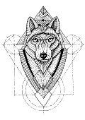 Wolf geometric illustration hand drawn