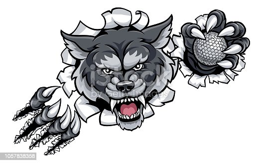 A wolf angry animal sports mascot holding a golf ball and breaking through the background with its claws