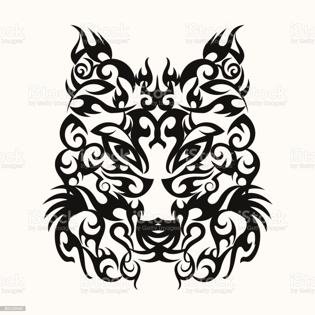 loup t te art tatouage dessin tribal cliparts vectoriels. Black Bedroom Furniture Sets. Home Design Ideas
