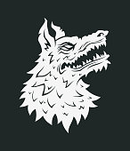 Angry wolf or dog head cut out silhouette - vector icon