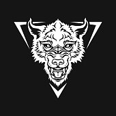 Head of angry wolf, dog, or werewolf icon - cut out silhouette for a dark background