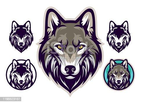 Gray wolf head emblem. Vector illustration.