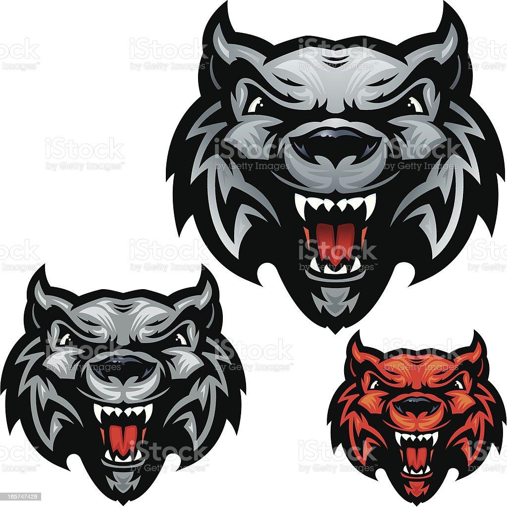 Wolf Head Howl vector art illustration
