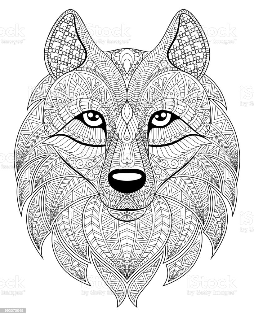 Coloriage Adulte Loup.Tete De Loup En Zentangle Style Coloriage Adulte Antistress Noir Et