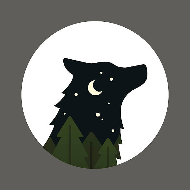 bildbanksillustrationer, clip art samt tecknat material och ikoner med wolf head inside a circle - hund skog