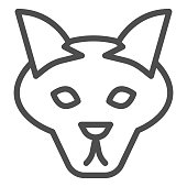 Wolf head line icon. Coyote, wild animal face, simple silhouette. Animals vector design concept, outline style pictogram on white background, use for web and app. Eps 10