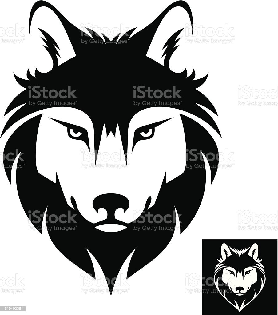 Wolf head logo or icon vector art illustration