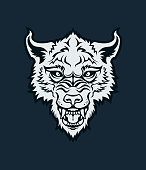 Angry wolf, dog, or werewolf with open mouth character mascot - vector cut out head silhouette