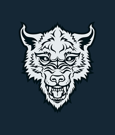 Wolf head silhouette. Angry wolf, dog, or werewolf with open mouth - vector character mascot