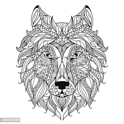 Wolf Head Stylized Coloring Page Stock Vector Art More