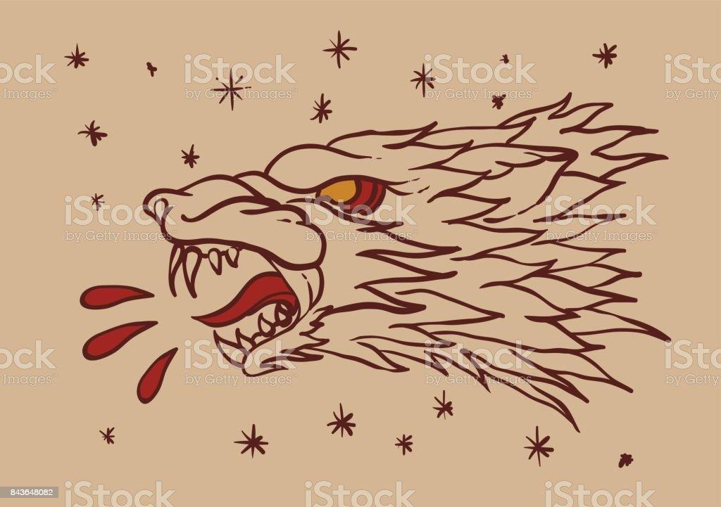 Wolf head tattoo vector art illustration