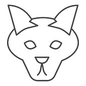 Wolf head thin line icon. Coyote, wild animal face, simple silhouette. Animals vector design concept, outline style pictogram on white background, use for web and app. Eps 10
