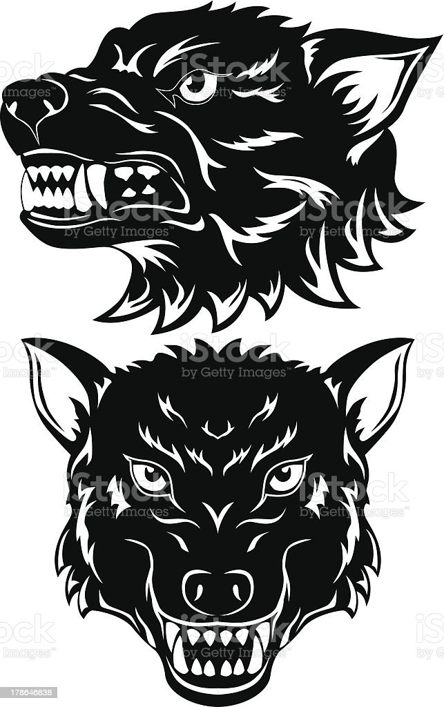 wolf head vector art illustration
