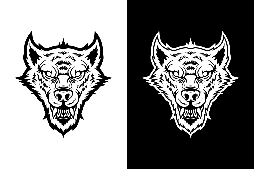 Wolf head, werewolf, dog - black and white cut out silhouette