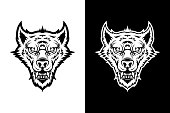 Head of angry wolf, werewolf, or dog - cut out silhouettes for dark and light backgrounds