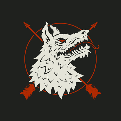 Wolf head with crossed arrows and a circle - cut out vector silhouette