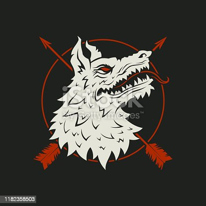 Wolf head silhouette with crossed arrows and circle - cut out vector icon